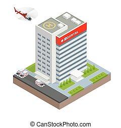 здание, город, изометрический, illustration., квартира, автомобиль, больница, вектор, скорая помощь, вертолет, design.