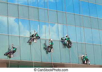 здание, группа, оказание услуг, окна, workers, подъем, высокая, уборка