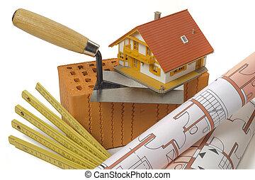 здание, дом, инструмент, план, кирпич