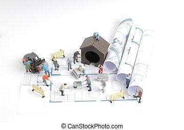 здание, дом, blueprints, строительство, работник