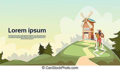 здание, женщина, пшеница, сельская местность, сельхозугодий, фермер, мельница, пейзаж