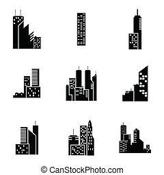здание, задавать, черный, вектор, icons