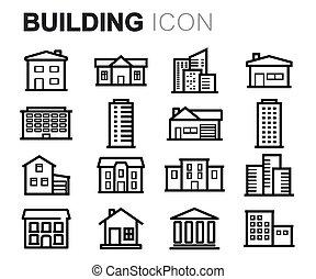 здание, задавать, icons, вектор, черный, линия