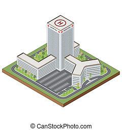 здание, изометрический, больница