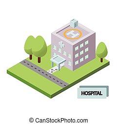 здание, изометрический, больница, значок