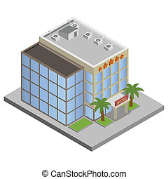 здание, изометрический, гостиница