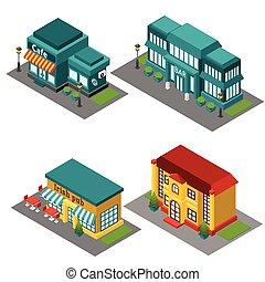 здание, изометрический, кафе