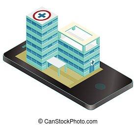 здание, изометрический, мобильный, медицинская, pictogram., аптека, infographic, phone., element.