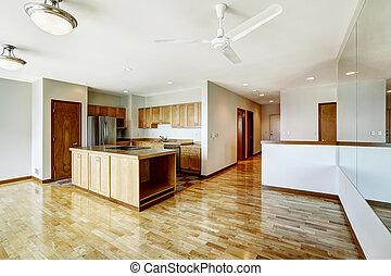 здание, квартира, жилой, в центре города, seatte, пустой, studio.