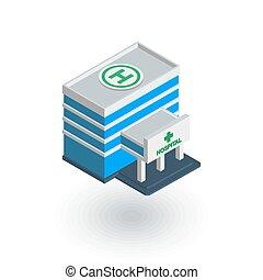 здание, квартира, изометрический, больница, вектор, icon., 3d
