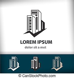 здание, компания, isolated, творческий, вектор, архитектура, строительство, ваш, значок