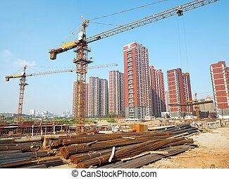 здание, кран, строительство, сайт