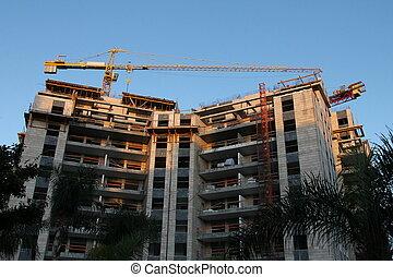 здание, кран, строительство
