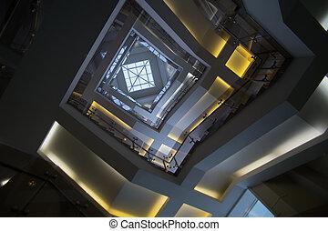 здание, крыша, прозрачный, офис