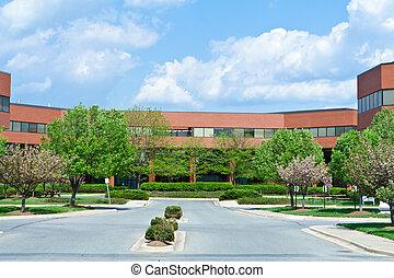 здание, мэриленд, usa, офис, пригородный, trees, новый, кирпич