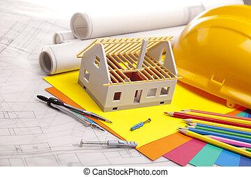 здание, над, инструменты, blueprints