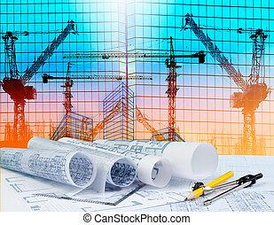 здание, отражение, за работой, строительство, архитектор, архитектура, зеркало, таблица, кран, план