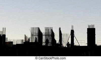 здание, под, строительство, на, evening., время, упущение