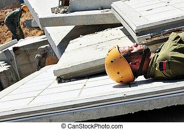здание, поиск, спасение, после, щебнем, через, катастрофа
