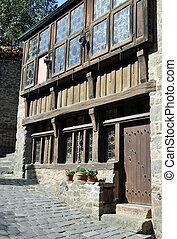 здание, порт, half-timbered, petit, dinan, рута, du