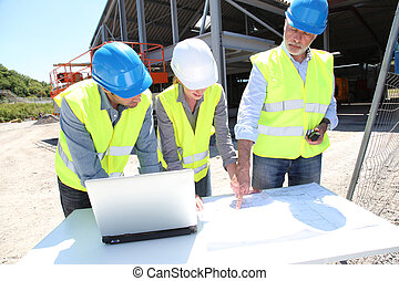 здание, промышленные, сайт, работающие люди