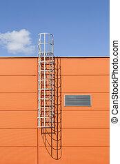 здание, промышленные, стена, лестница, современное, металл