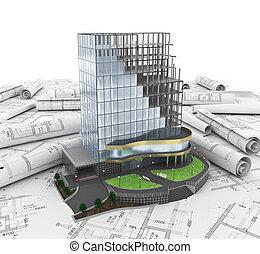 здание, разработка, абстрактные, 3d
