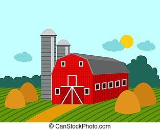 здание, сельхозугодий, природа, ферма, иллюстрация, сельская местность, вектор, архитектура, задний план, сельский, сельское хозяйство, сельское хозяйство