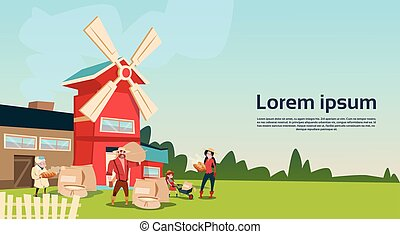 здание, сельхозугодий, пшеница, семья, farmers, сельская местность, мельница, пейзаж
