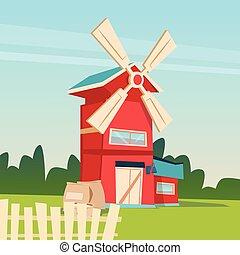 здание, сельхозугодий, сельская местность, сельское хозяйство, мельница, сельское хозяйство, пейзаж