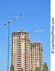 здание, синий, небо, против, строительство, под, кран