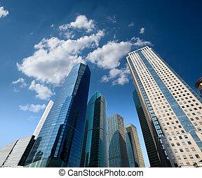 здание, синий, современное, небо, против