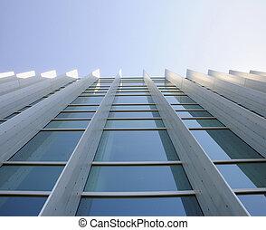 здание, синий, refected, офис, окна, небо, коммерческая, вверх, ищу, экстерьер, земля
