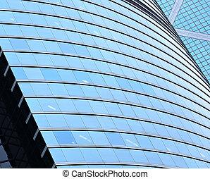 здание, стена, прозрачный, офис, стакан