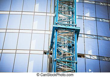 здание, строительство, возле, небоскреб
