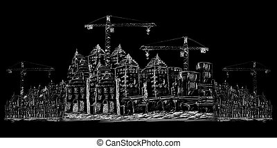 здание, строительство, sketching