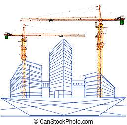 здание, с, два, перспективный, точка
