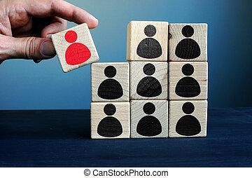 здание, управление, ресурс, человек, business., рука, держа, команда, block.