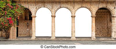 здание, цветы, arches, исторический, isolated