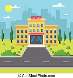здание школы, экстерьер, город, посмотреть