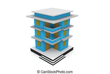 здание, 3d, model.