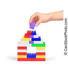 здание, blocks, дом, рука, задний план, белый