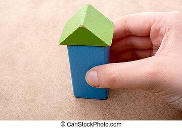 здание, blocks, дом, сформированный, рука, держа, вне