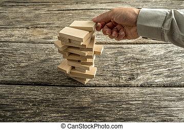 здание, blocks, creating, деревянный, многие, рука, башня, мужской, или
