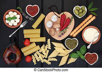 здоровый, итальянский, питание, пробоотборник
