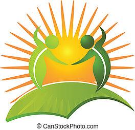 здоровый, логотип, жизнь, вектор, природа