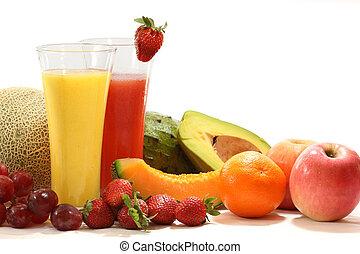 здоровый, овощной, фрукты, juices