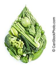 здоровый, питание, зеленый