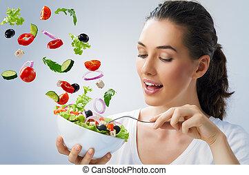 здоровый, питание, принимать пищу