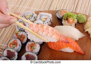 здоровый, питание, -, суши